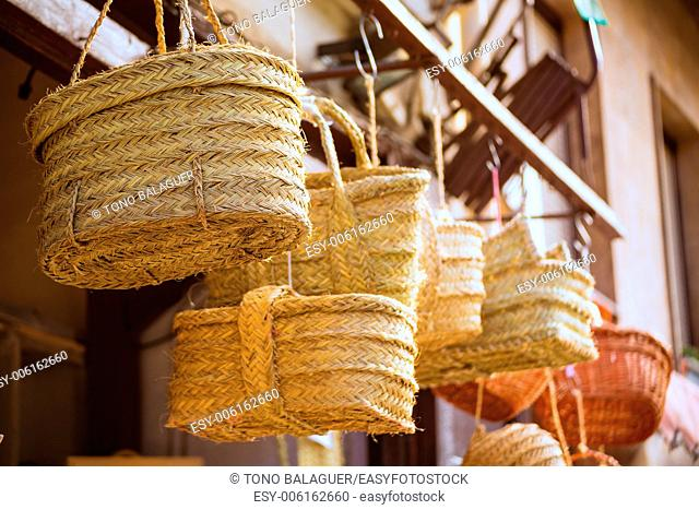 Valencia traditional esparto basket crafts near Mercado Central of Spain