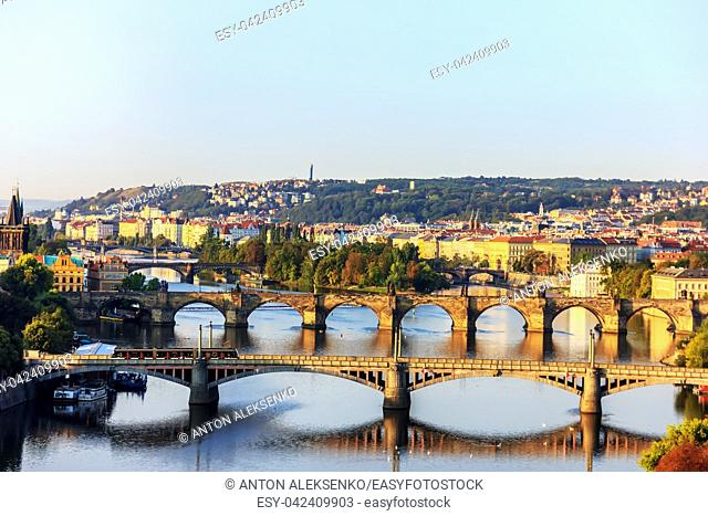 Charles Bridge over the Vltava and other bridges view on the Lesser Town from Prague Metronome