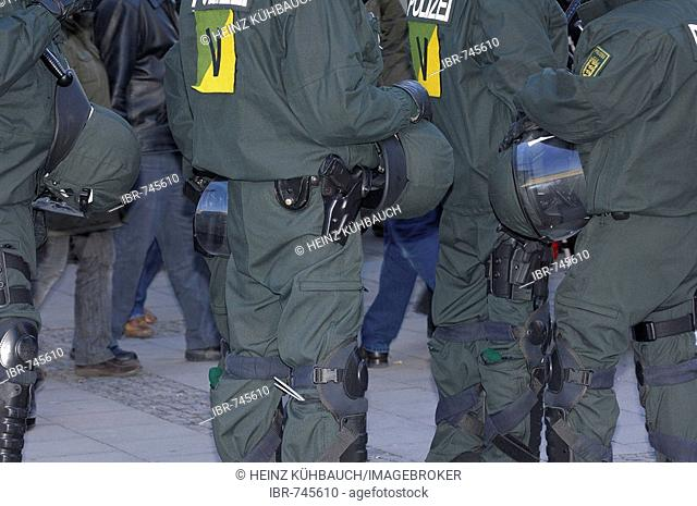 Detail, riot police at a protest against the 2008 Munich Conference on Security Policy, Munich, Bavaria, Germany