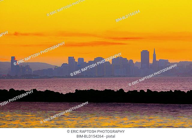Colorful sunset sky over San Francisco city skyline, California, United States