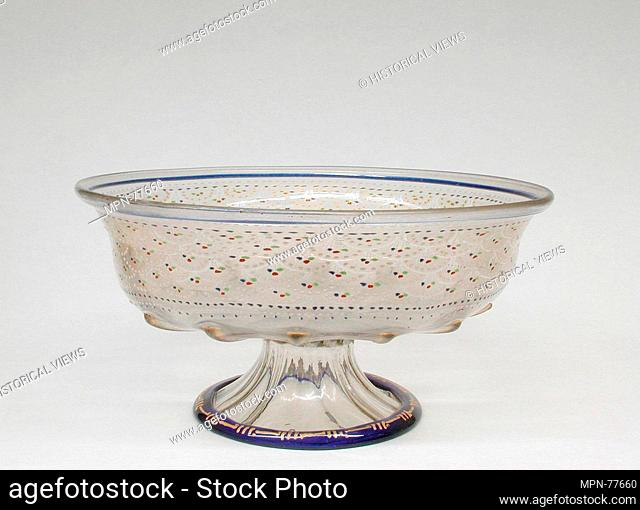 Bowl. Date: early 16th century; Culture: Italian, Venice (Murano); Medium: Glass, enamelled and gilt; Dimensions: 5 7/8 x 11 1/4 in. (14.9 x 28