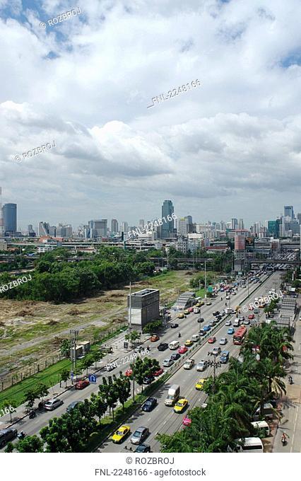 Aerial view of traffic on highway, Ratchadapisek Road, Fortune Tower, Bangkok, Thailand