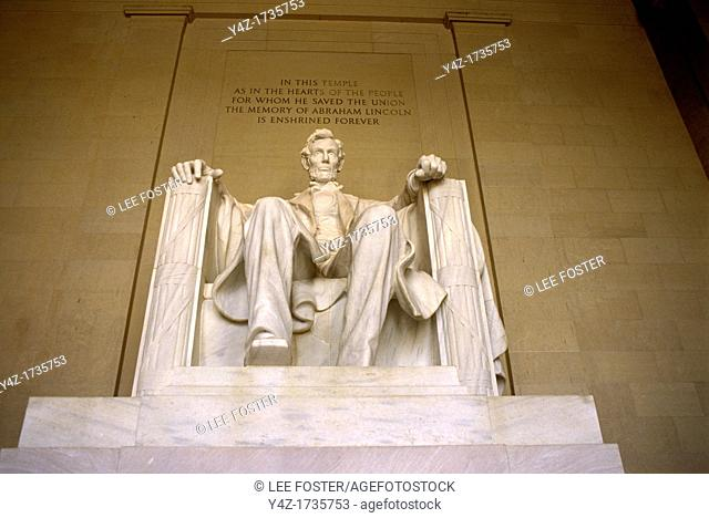 Washington, DC, Lincoln Memorial to President Abraham Lincoln on the National Mall
