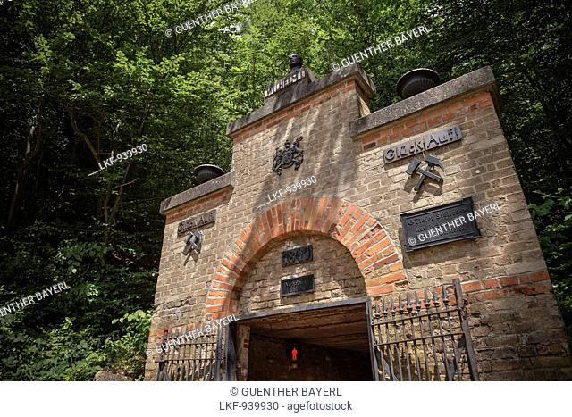 Entrance to mining pit Tiefer Stollen, Aalen, Ostalb province, Swabian Alb, Baden-Wuerttemberg, Germany