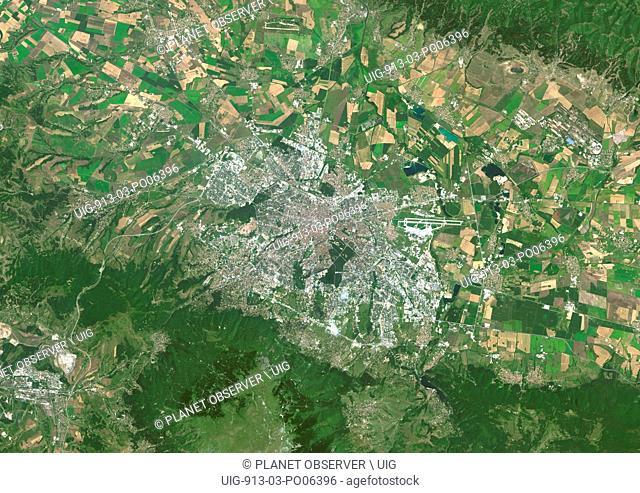 Colour satellite image of Sofia, Bulgaria. Image taken on August 14, 2014 with Landsat 8 data
