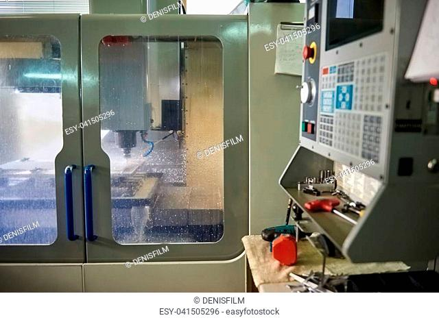 Cnc machine in action. Modern factory equipment