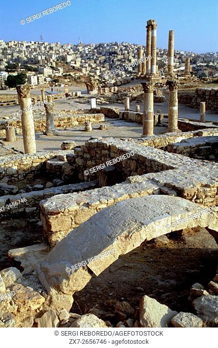 Citadel architecture in Amman, Jordan