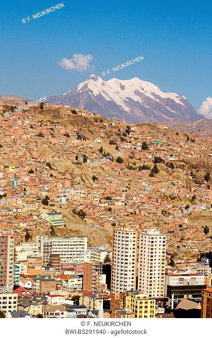 La Paz with snow covered Illimani, Bolivia, Andes, Cordillera Real