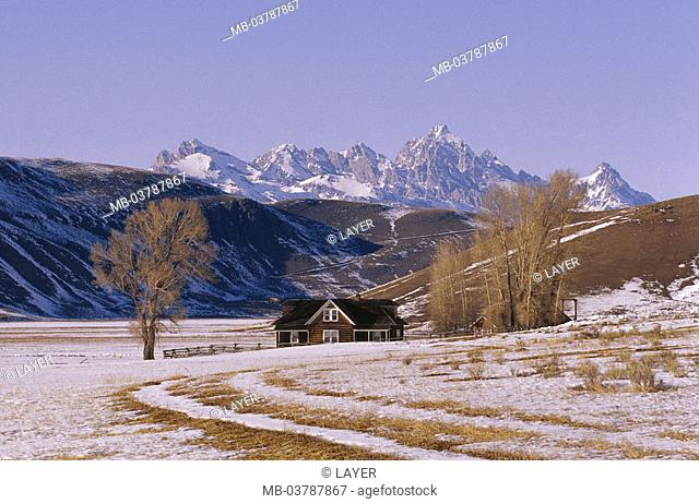 USA, Wyoming, Grand Teton  National park, highland, 'Miller house', winters, Reservation, mountains, mountains, landscape, house, Residence, season, cold, snow