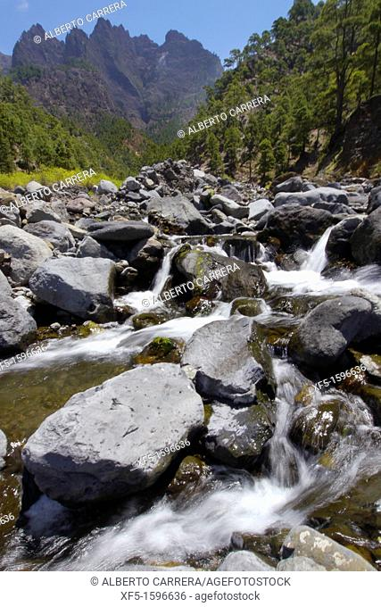 Taburiente River and Walls towers, Caldera de Taburiente National Park, Biosphere Reserve, ZEPA, LIC, La Palma, Canary Islands, Spain, Europe