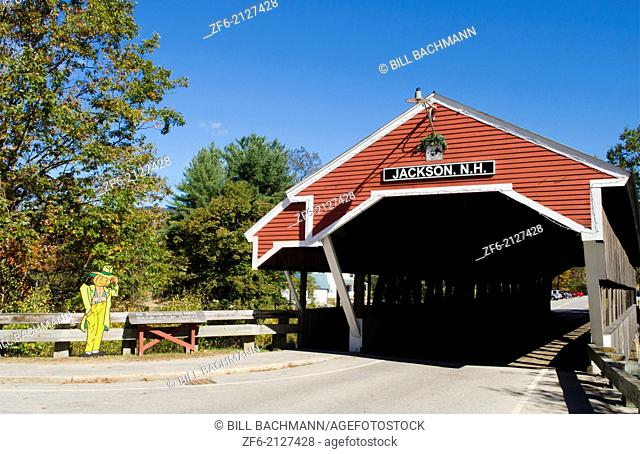 Jackson New Hampshire Covered Bridge 1876 in Northern New England in fall foliage in October Jackson Covered Bridge