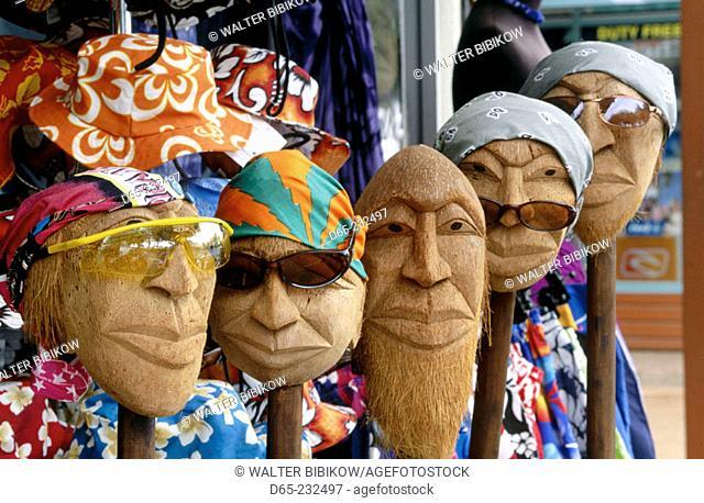 Coconut heads in a shop in Avarua. Rarotonga. Cook Islands