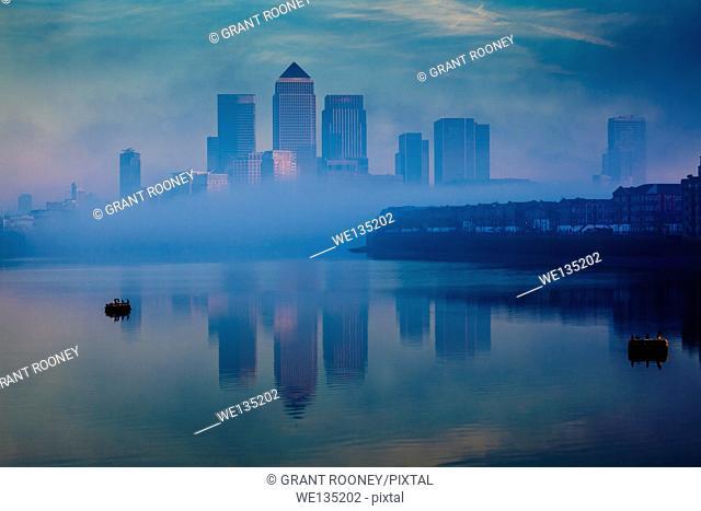 Canary Wharf In The Fog, London, England