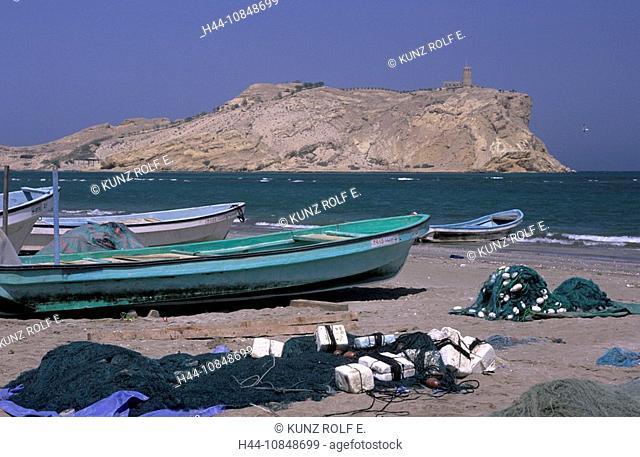 Oman, middle East, Al-Sawadi Beach, fishing boats, at Muscat, coast, beach, sea, ocean, island, watch tower, nets, Reg