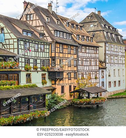Strasbourg, water canal in Petite France area, Alsace, Bas Rhin