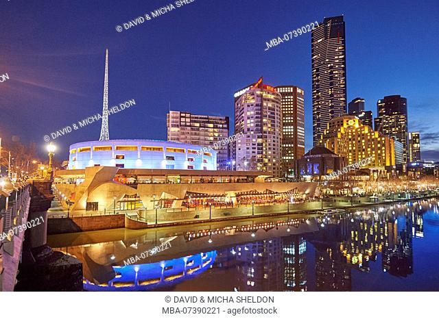 Skyscrapers (Eureka Tower and Sealife Aquarium) at Yarra River, Cityscape, Melbourne, Victoria