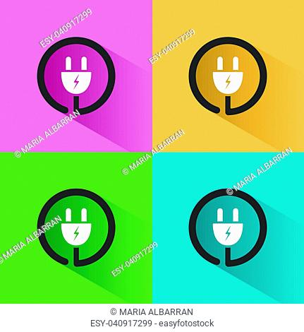 Plug icon with shadow on colored backgrounds