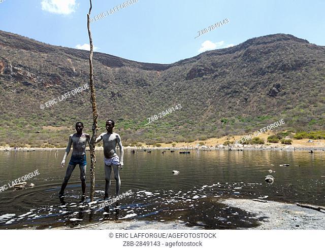 Volcano crater where Borana tribe men dive to collect salt, Oromia, El Sod, Ethiopia