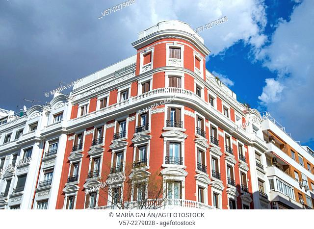 Facade of house. Salamanca district, Madrid, Spain