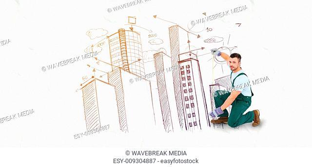 Composite image of carpenter measuring something