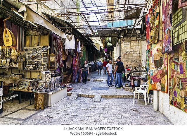palestinian souk bazaar market street shops stalls in jerusalem old town israel