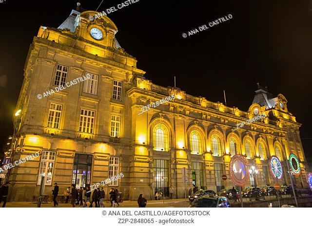 Sao Bento railway station by night, 1905-1916 by José da Silva, on January 6, 2016 in Praça Almeida Garrett Porto Portugal