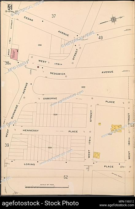 Bronx, V. 15, Plate No. 51 [Map bounded by Cedar Ave., W. 180th St., Loring Place, W. Burnside Ave.]. Sanborn Map Company (Publisher)