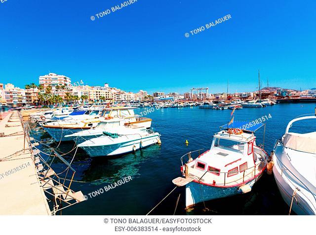 Aguilas port marina village Murcia in Spain at Mediterranean sea