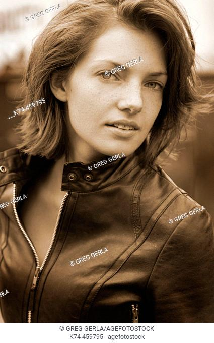 Young Woman Wearing Leather Jacket