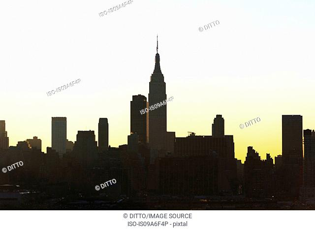 Silhouette of Empire State Building and skyline, New York City, USA