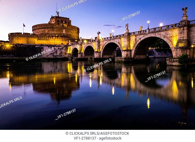 Rome, Lazio, Italy, Europe. View of the Ponte Sant'Angelo and Castel Sant'Angelo