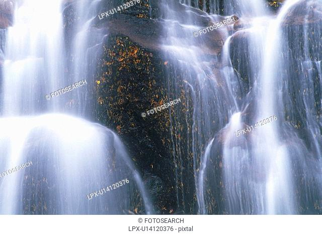 a Waterfall, Low Angle View, Long Exposure, Akita Prefecture, Japan