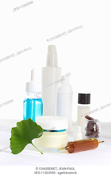 Various natural cosmetic products made with gingko