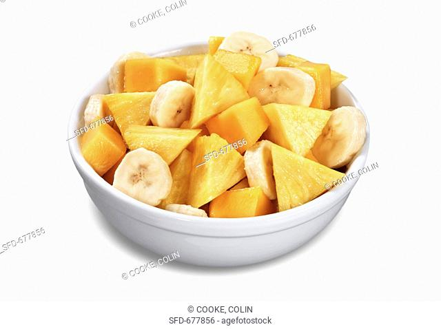 Bowl of Fruit Salad, Pineapple, Banana and Mango