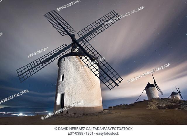 Don Quixote windmills at night. Famous landmark in Consuegra, Toledo Spain