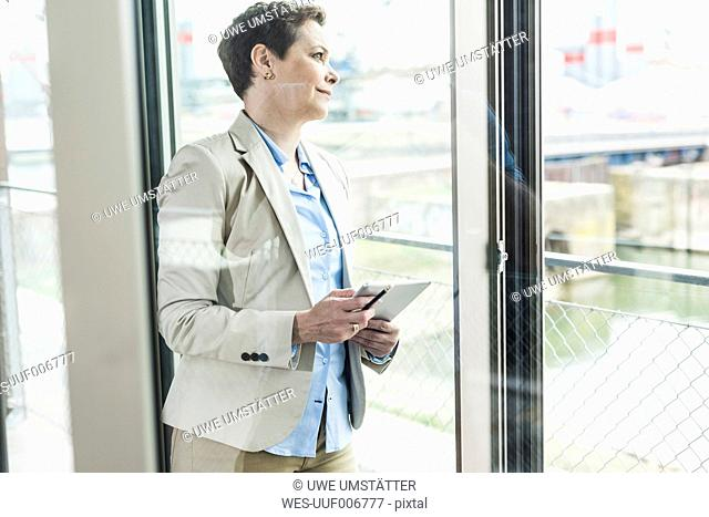 Businesswoman with digital tablet at the window