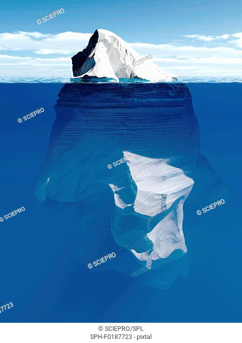 Tip of the iceberg, conceptual illustration