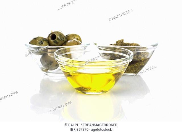 Olive oil, olives and pesto