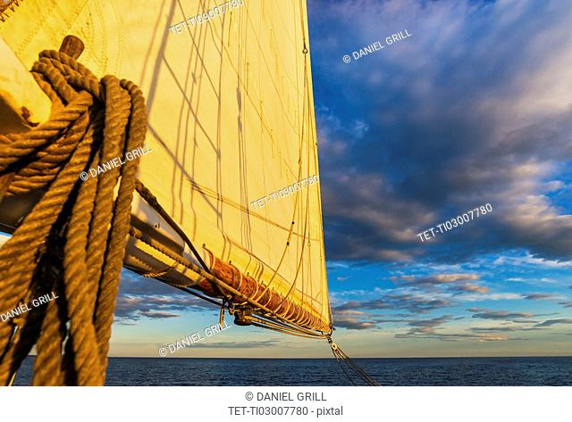 Sail and ropes against sunset sky