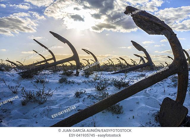 Cemetery of Anchors. Memorial monument to dead fishermen of tuna industry in Portugal. Baril beach, Santa Luzia, Algarve