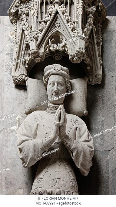Fürstengruft, Doppelgrabmal für Graf Adolf I. 1368 - 1394 und dessen Gemahlin Gräfin Margareta, um 1400, Kopf des Grafen