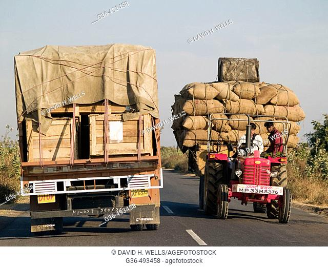 Long distance delivery trucks delivering goods in Rajasthan, India