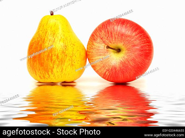 Pear and apple isolated on the white