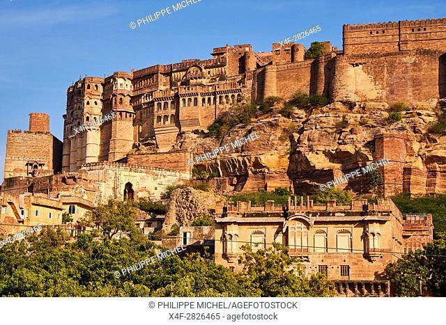 India, Rajasthan, Jodhpur, the blue city, Mehrangarh Fort