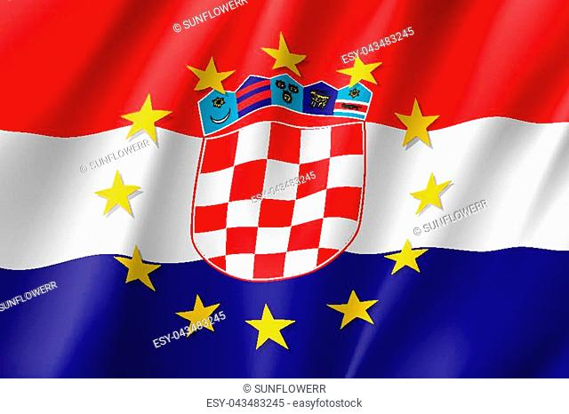 Croatia national flag with a circle of European Union twelve gold stars, political and economic union with EU, member since 1 July 2013