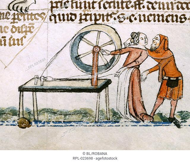 An amorous encounter, Detail Bas-de-page scene showing man about to embrace a woman at her spinning wheel Image taken from Smithfield Decretals Decretals of...