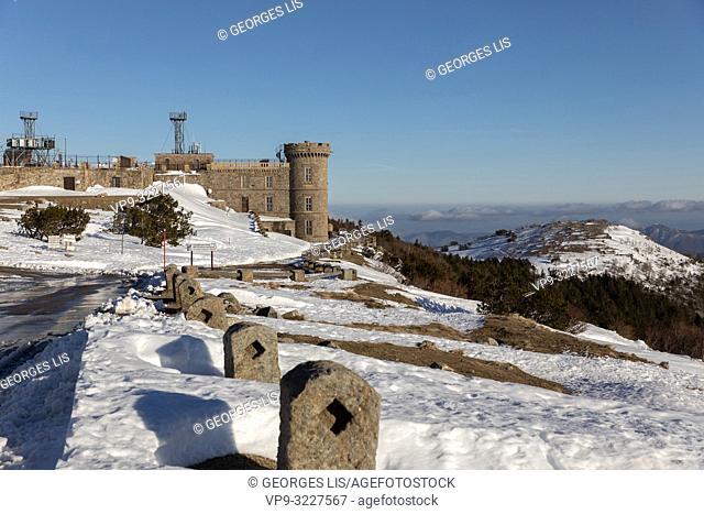 Meteorology observatory, Mont Aigoual, Aigoual mount, winter, Gard, Herault, Cevennes, Occitanie