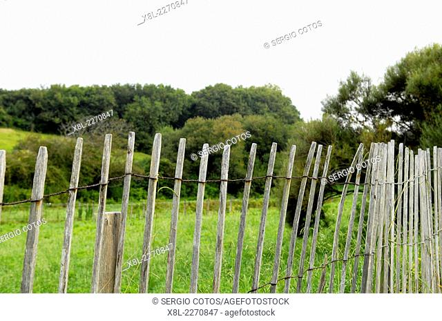 Wooden fence in the French countryside