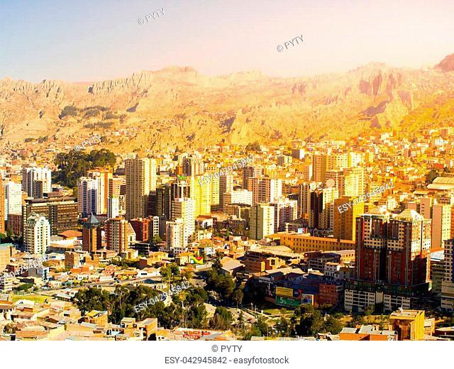 La Paz city centre on sunny day, Bolivia, South America