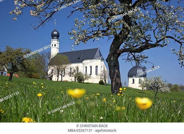 Pilgrimage church Saint Marian and Anian at the Irschenberg, Tegernsee valley, Upper Bavaria, Bavaria, South Germany, Germany